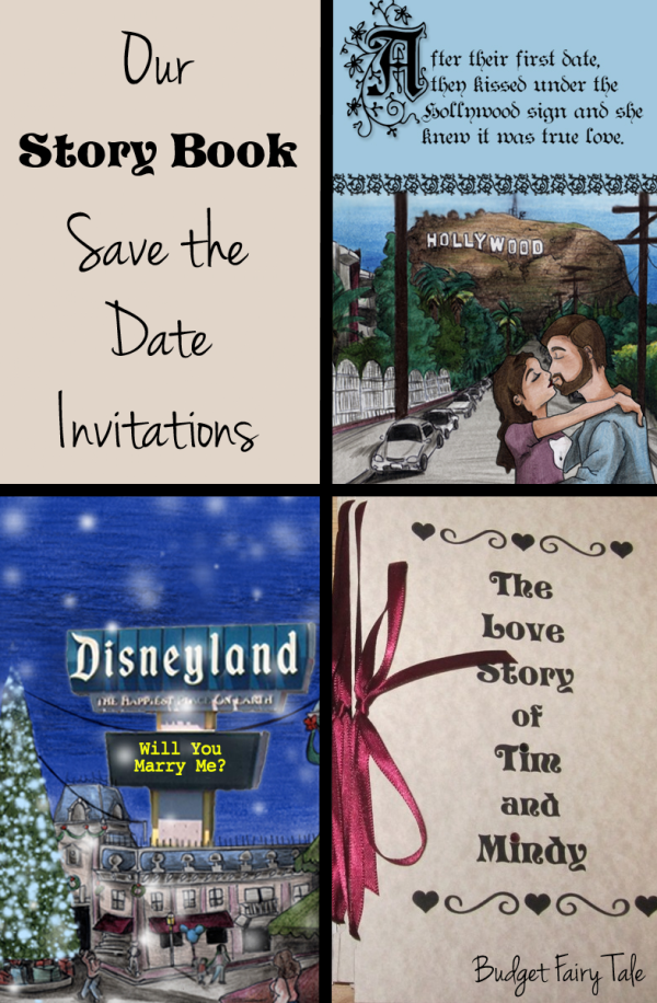 Our Story Book Save the Date Invitations // Budget Fairy Tale