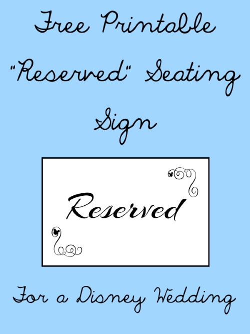 image relating to Printable Reserved Signs for Wedding titled Cost-free Printable Reserved Seating Indicators for Your Marriage Rite