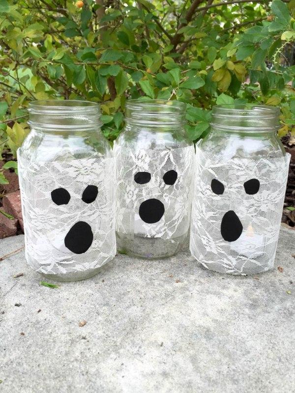 Easy DIY Mason Jar Ghost Luminaries