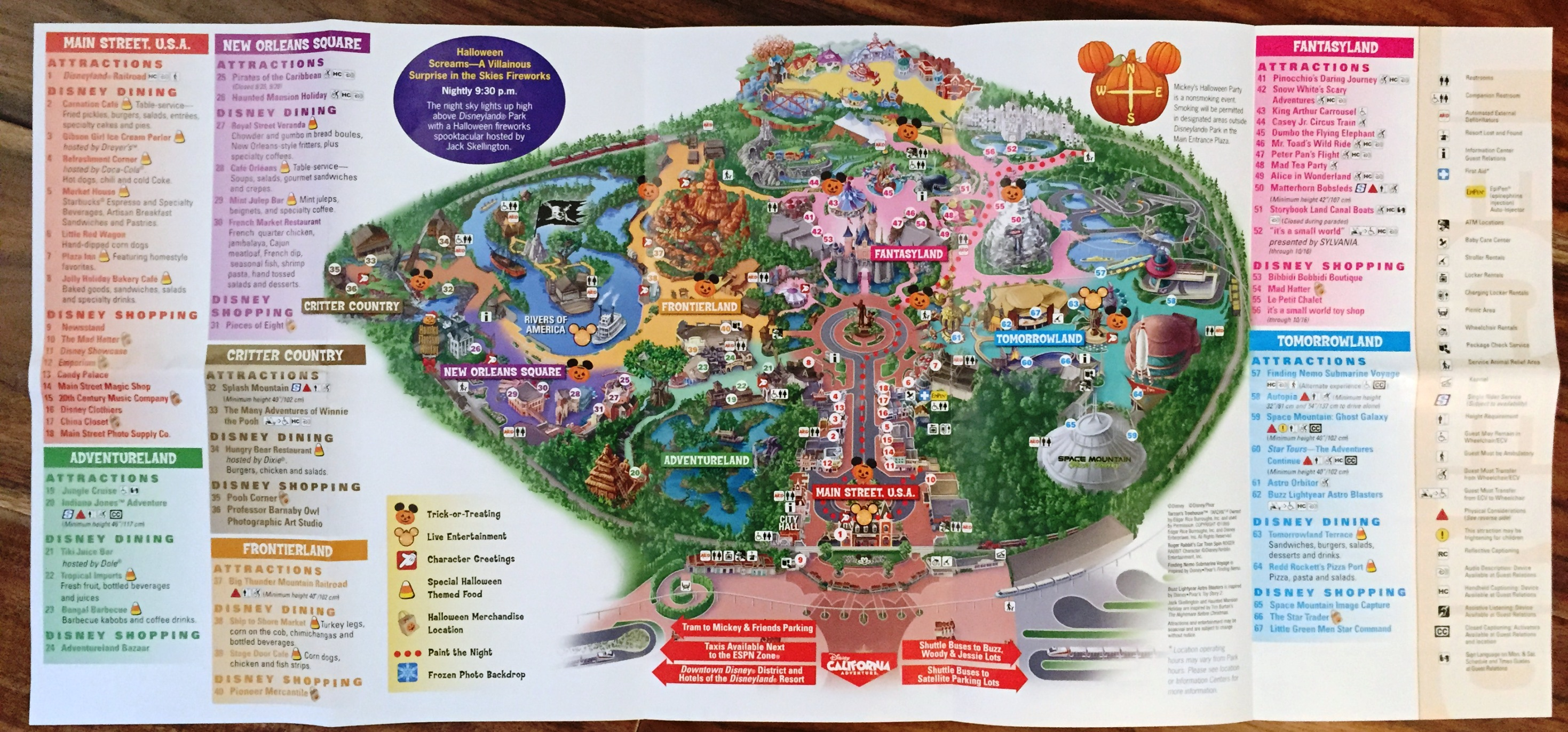 graphic about Disneyland Printable Map named Disneyland Dining establishments Map